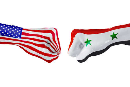 USA and Syria country flag. Concept fight, war, business competition, conflict or sporting events, isolated on white