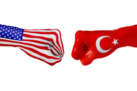 USA and Turkey country flag. Concept fight, war, business competition, conflict or sporting events, isolated on white