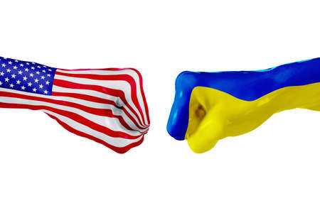 squabble: USA and Ukraine country flag. Concept fight, war, business competition, conflict or sporting events, isolated on white