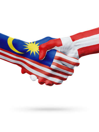 Flags Malaysia, Denmark countries, handshake cooperation, partnership, friendship or sports team competition concept, isolated on white