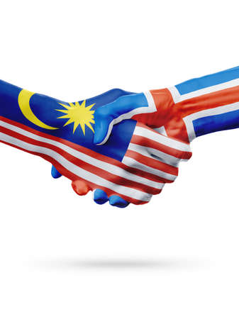 Flags Malaysia, Iceland countries, handshake cooperation, partnership, friendship or sports team competition concept, isolated on white