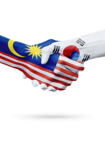 Flags Malaysia, South Korea countries, handshake cooperation, partnership, friendship or sports team competition concept, isolated on white
