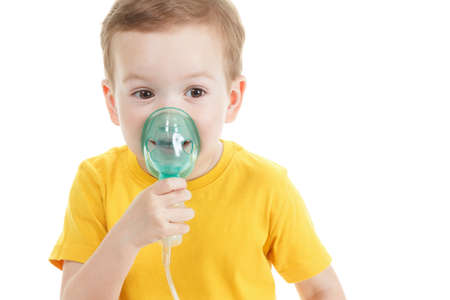 Caucasian child holding oxygen or inhaler mark isolated on white background.