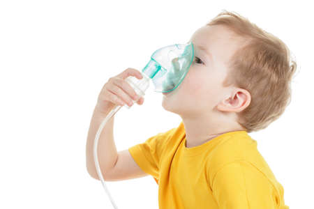 Caucasian child holding oxygen or inhaler mark isolated on white background.