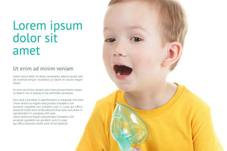 Caucasian child holding oxygen or inhaler mark isolated on white background with copy space for text.
