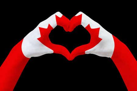 De vlag van handen van Canada, vormt een hart. Concept landsymbool, op zwarte wordt geïsoleerd die. Abstracte 3d grafische illustratie, ontwerp met patroon en textuur. Stockfoto - 81062462