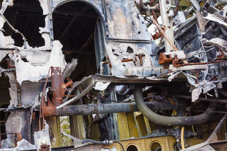 appliance: Old cabin crashed Russian plane. Salvage Soviet aviation Stock Photo