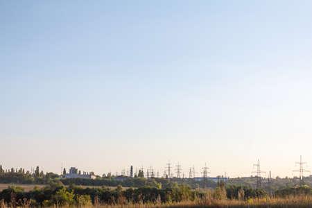 high tech: Power line technology voltage electrecity pylon landscape.