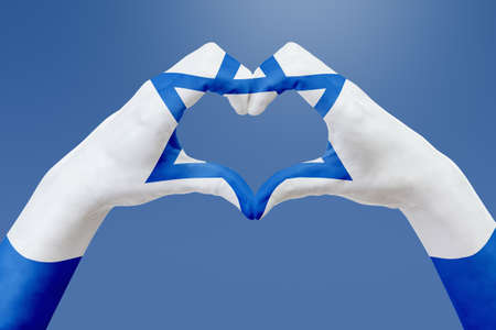 Hands flag of Israel, shape a heart. Concept of country symbol, on blue sky. Abstract 3d illustration graphic, design with pattern and texture.