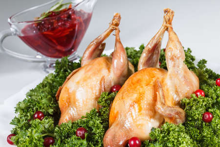 chicken with vegetables food lunch, roasted and sour cranberry sauce and parsley