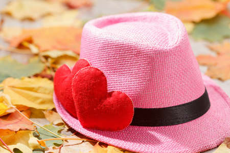 Valentines day background abstract symbol. Two heart in leaves. Concept of love with hat hipster