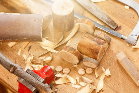 Wooden decor and toy tractor machine detail DIY with carpenter tool Stock Photo