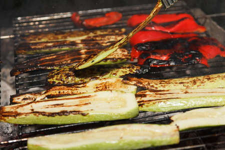 Outdoor cooking vegetables barbecue on fire bonfire, set of food on the grill bbq