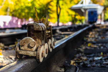 Steam toy train in the childrens amusement park mini railway sration