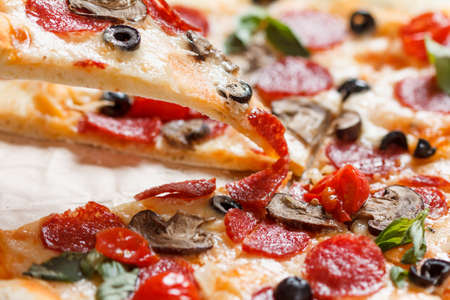 A hot pizza slice with dripping melted cheese, with mushrooms, salami, peperoni, tomatoes, basil