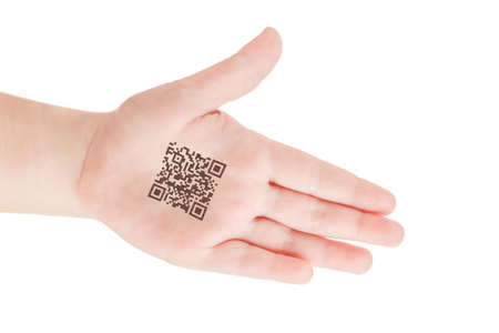 Child hand with QR code of genetic experiments. Clone of DNA and human genome. Artificial intelligence concept isolated on white. Stock Photo