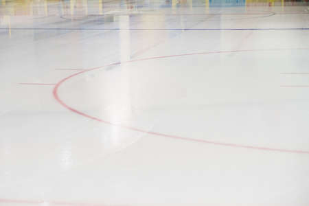 Hockey ice Rink Face Off. Abstract close up texture with markup