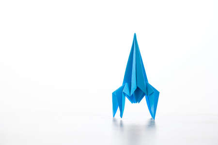 Paper homemade origami rocket. Craft work for children