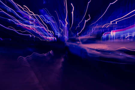abstract image of blur motion of cars on the city road at night 版權商用圖片