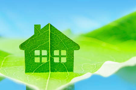 eco house icon concept green energy, ecology environment symbol sign
