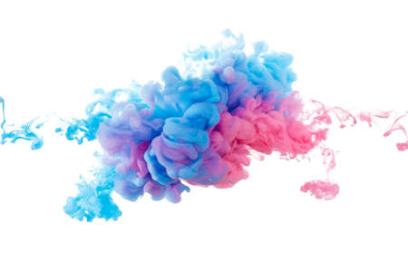 Blue and red paint splash isolated on white background close up
