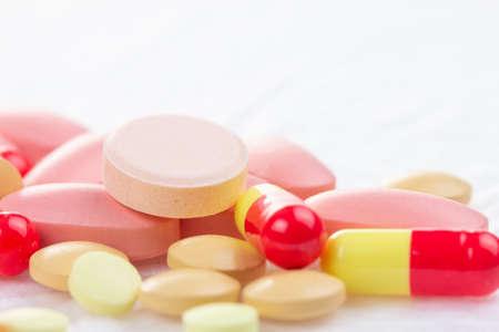 Medicine pill on white, medical tablet prescription for health,  pharmacy drug.