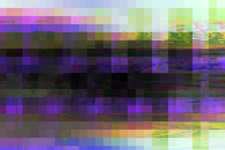 Glitch digital abstract artifacts distortion background futuristic,  channel frame. Stock Photo