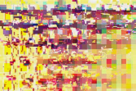 Glitch pixel data moshing digital noise screen background,  pattern. Stock Photo - 119996584