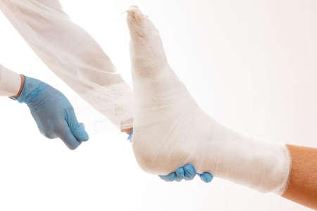 Doctor broken leg health care medical injury,  aid. 写真素材