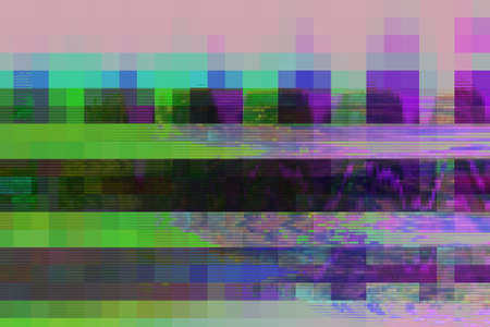 Glitch digital abstract artifacts distortion background futuristic,  channel grunge. Stock Photo