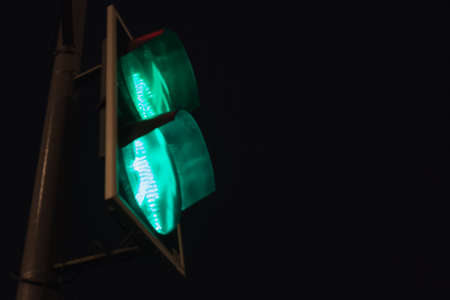 Traffic light with green light and safe to move signal. Stock Photo - 123311412