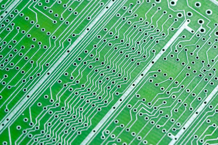 Empty circuit board, pcb printed computer technology,  macro abstract.