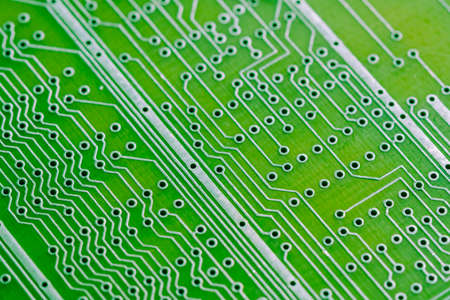 Empty circuit board, pcb printed computer technology,  green