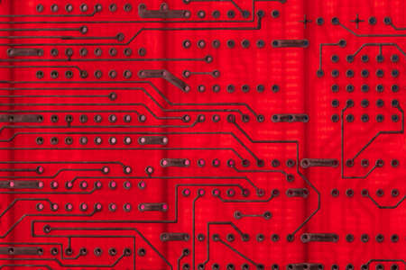 Empty circuit board, pcb printed computer technology,  background microchip. Stock Photo