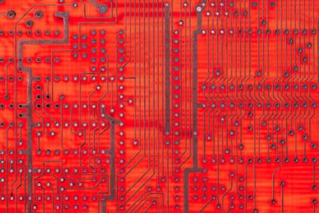 Empty circuit board, pcb printed computer technology,  macro card. Stock Photo