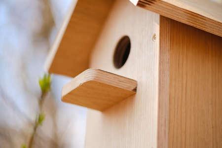 Birdhouse spring nature nest bird home house,  outside. Stock Photo