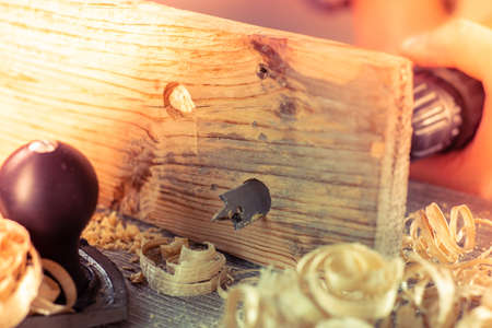 Carpenter wood tool wooden work carpentry equipment,  industry. Stock Photo