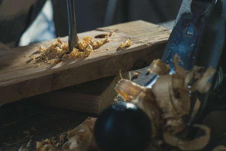 Carpenter wood tool wooden work carpentry equipment,  sawdust.
