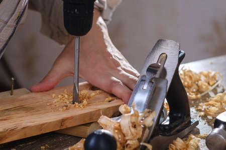 Carpenter wood tool wooden work carpentry equipment,  background.