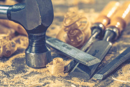 Carpenter wood tool wooden work carpentry equipment,  industrial timber. Stock Photo