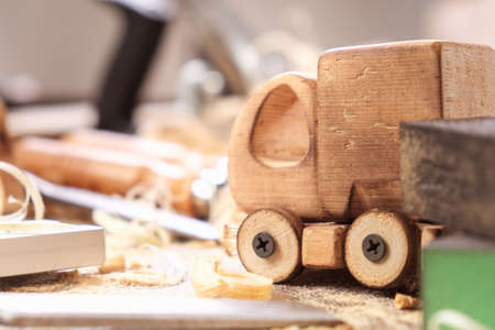 fathers day concept carpenter wood toy car craft,  diy truck.