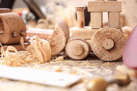 fathers day concept carpenter wood toy car craft,  diy wooden.