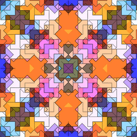 Mosaic abstract background pattern stained backdrop window, art.