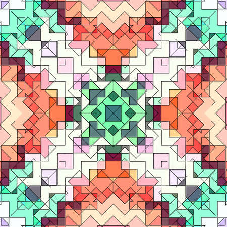 Mosaic abstract background pattern stained backdrop window, colorful. Stock Photo