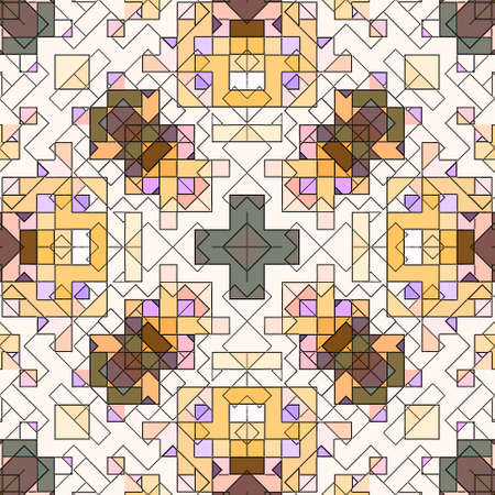 Mosaic abstract background pattern stained backdrop window, colored.
