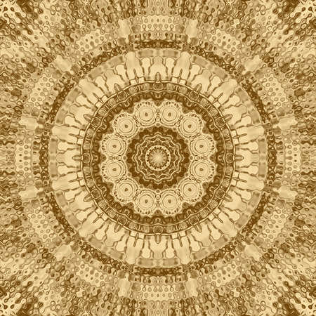 Gold mosaic abstract element and kaleidoscope ornamental backdrop,  business card art. 스톡 콘텐츠