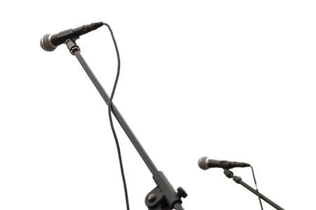 Chrome microphone isolated on a white background close up 스톡 콘텐츠