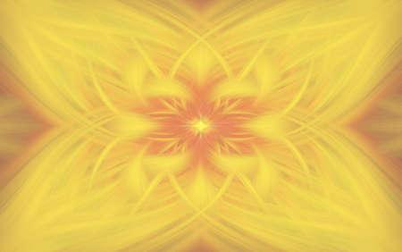 geometric yellow pattern floral orange flame glow. fractal.