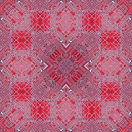 pcb printed circuit board pattern kaleidoscope background. chip. Stok Fotoğraf