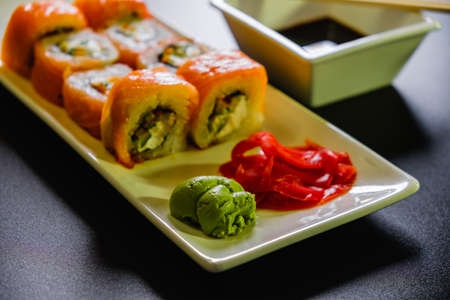 Sushi roll set on white background. Sushi Japanese food in restaurant. traditional. 스톡 콘텐츠